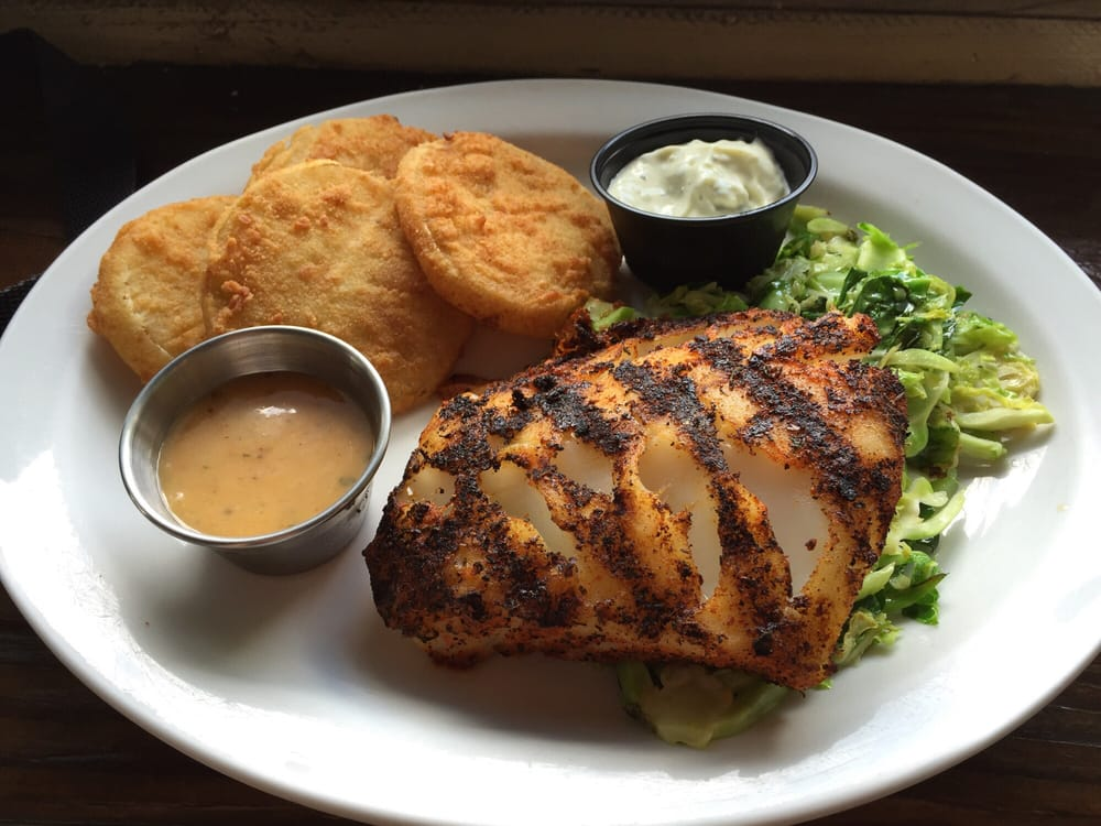 Blackened cod brussels sprouts fried green tomatoes yum for Winter park fish company