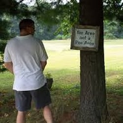 Women peeing on golf course