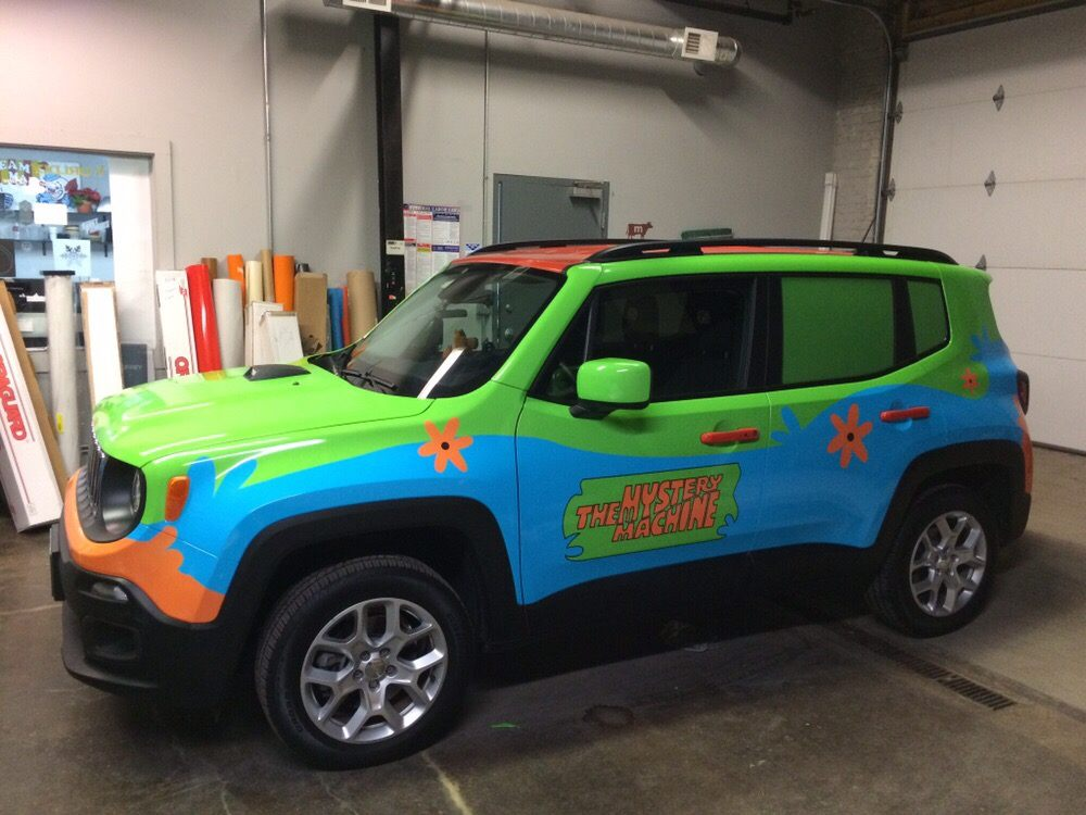 """Bike Rack For Jeep Renegade >> Custom design, printing, and installation on this awesome """"Mystery Machine"""" Jeep Renegade! - Yelp"""