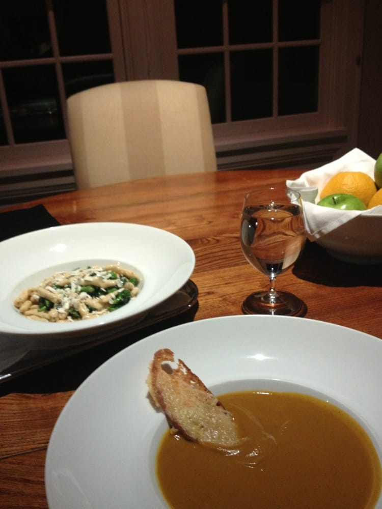 Roasted pumpkin soup with gruyere toast, homemade cavatelli pasta with ...