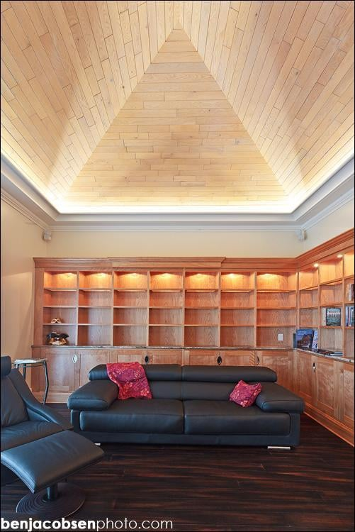 Interior renovation custom red birch casework bamboo for Vaulted ceiling lighting solutions