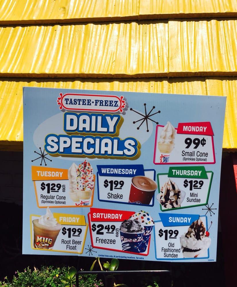 Tastee Freez Specials Yelp