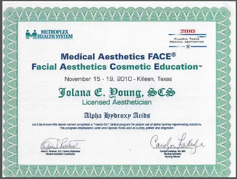 Jolana Young Medical Aesthetician Alpha Hydroxy Acids