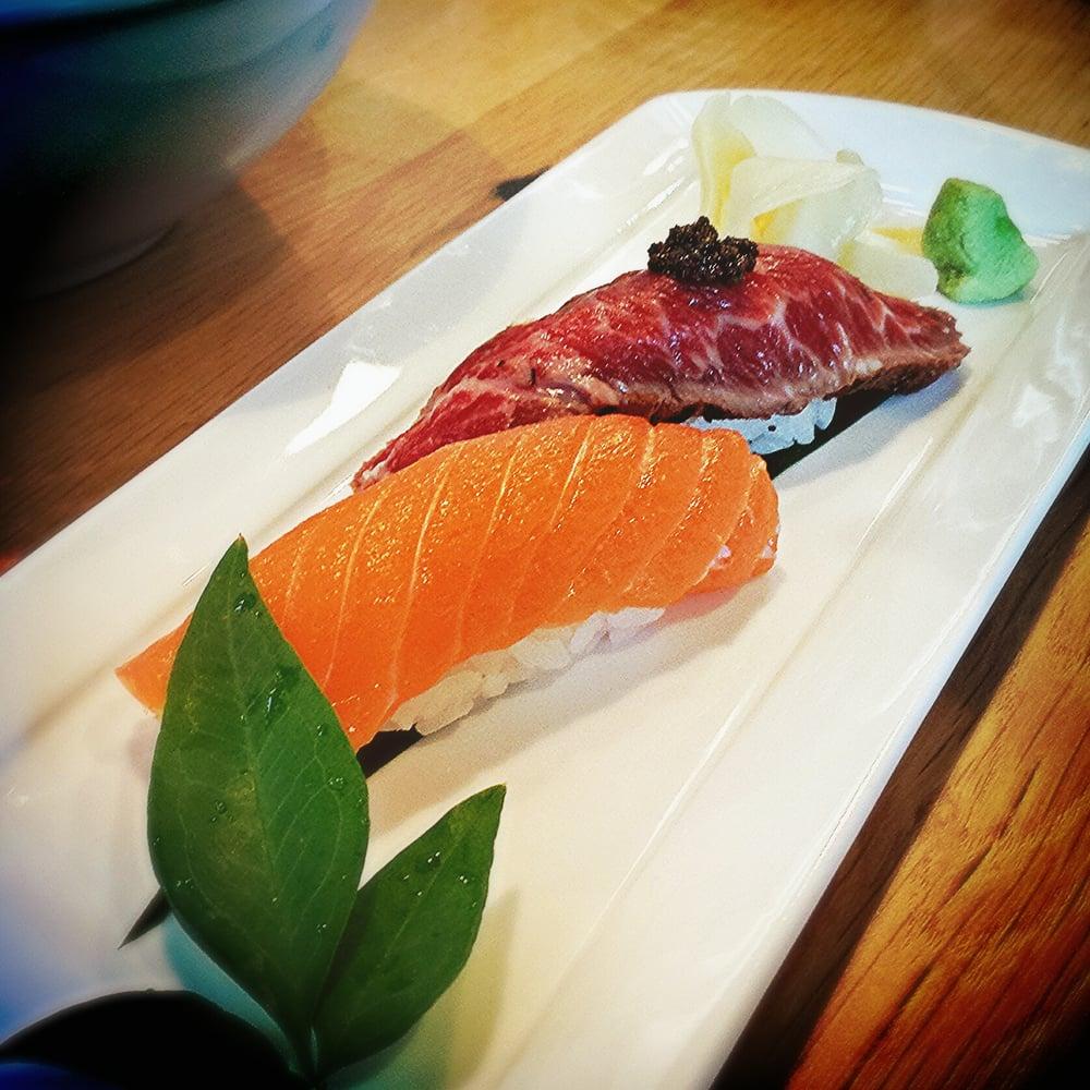 Flatiron steak nirigi and house smoked salmon nigiri yelp for Smoked fish near me