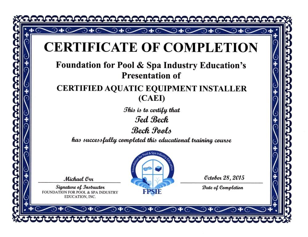 Certified Aquatic Equipment Installer allows for LADWP $1000 rebate ...