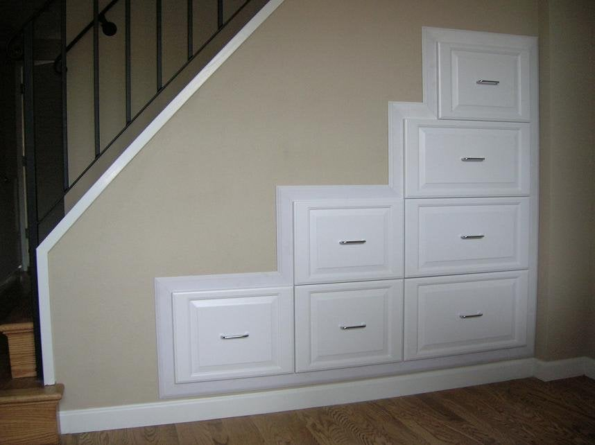 Under stair built in drawers yelp for Under stairs drawers plans