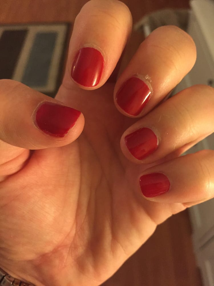 Red Essie nail polish. For a regular, non-gel mani this is holding ...