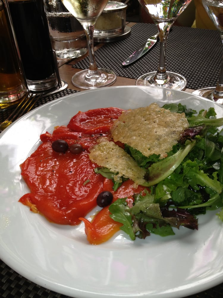 From le menu ni ois entr e of peppers with sheep parmesan wafer and salad yelp - Maison de marie nice ...