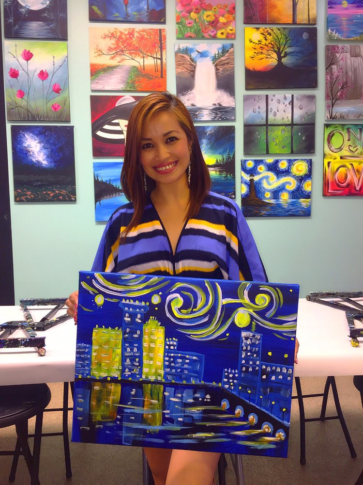 Wine canvas paint sip 2900 pentagon dr for Wine and painting mn