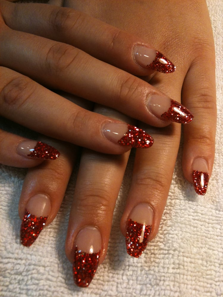 Fancy glitter tips on Acrylic Nails set (with gel overlay). By Mai ...