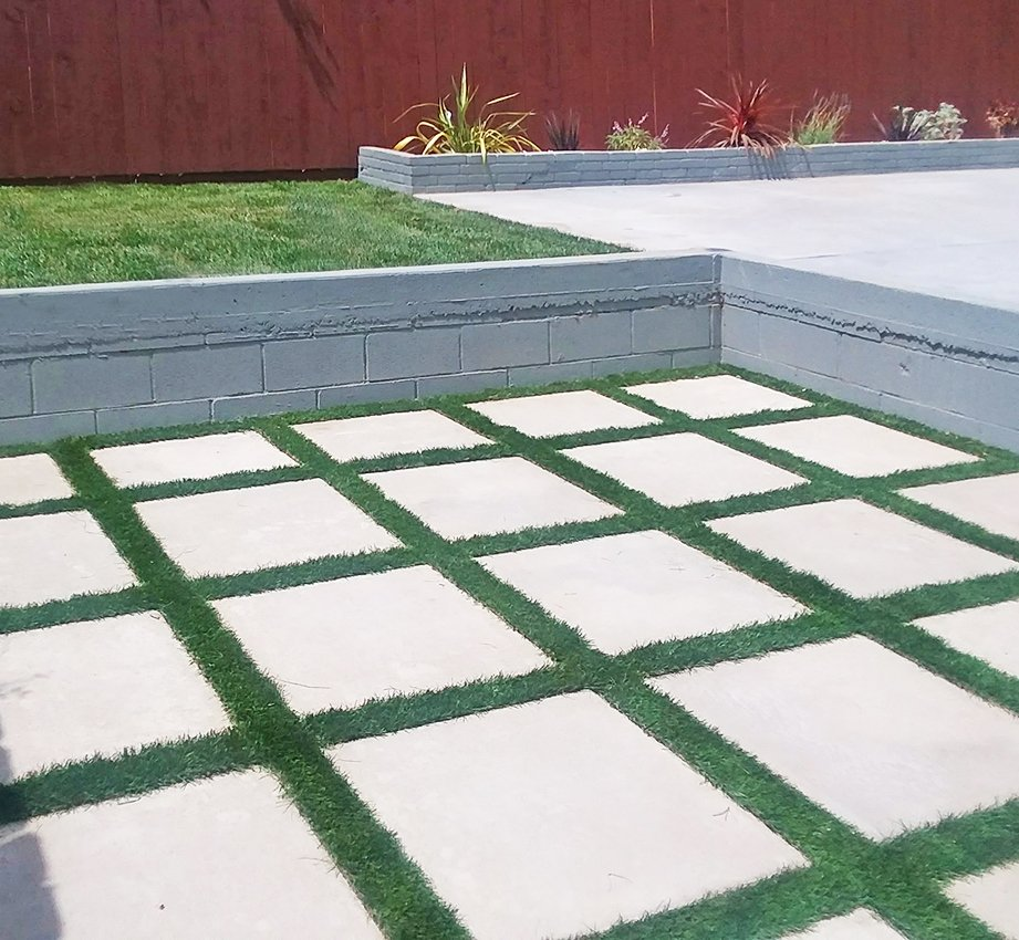 Concrete Pavers with Artificial Turf, New Lawn & Drought