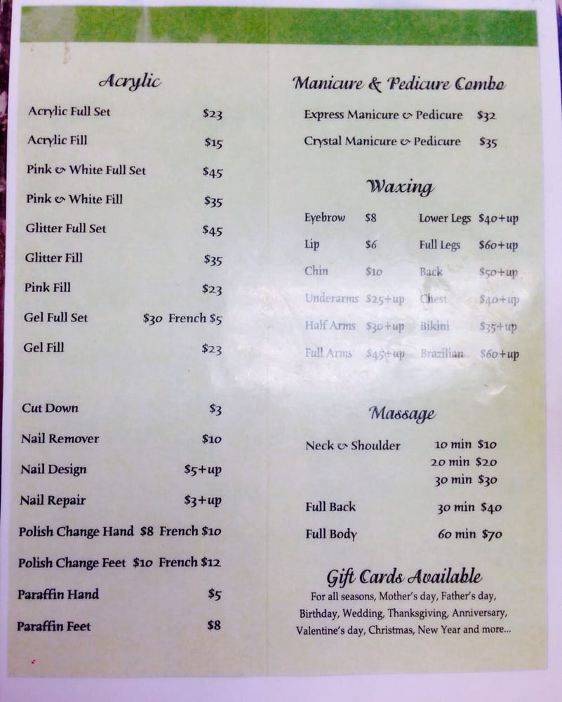 Kim 39 s nail salon 39 s price list page 2 of 2 as of 20150730 for Spa services near me