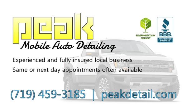 peak mobile auto detailing closed auto detailing colorado springs co united states. Black Bedroom Furniture Sets. Home Design Ideas