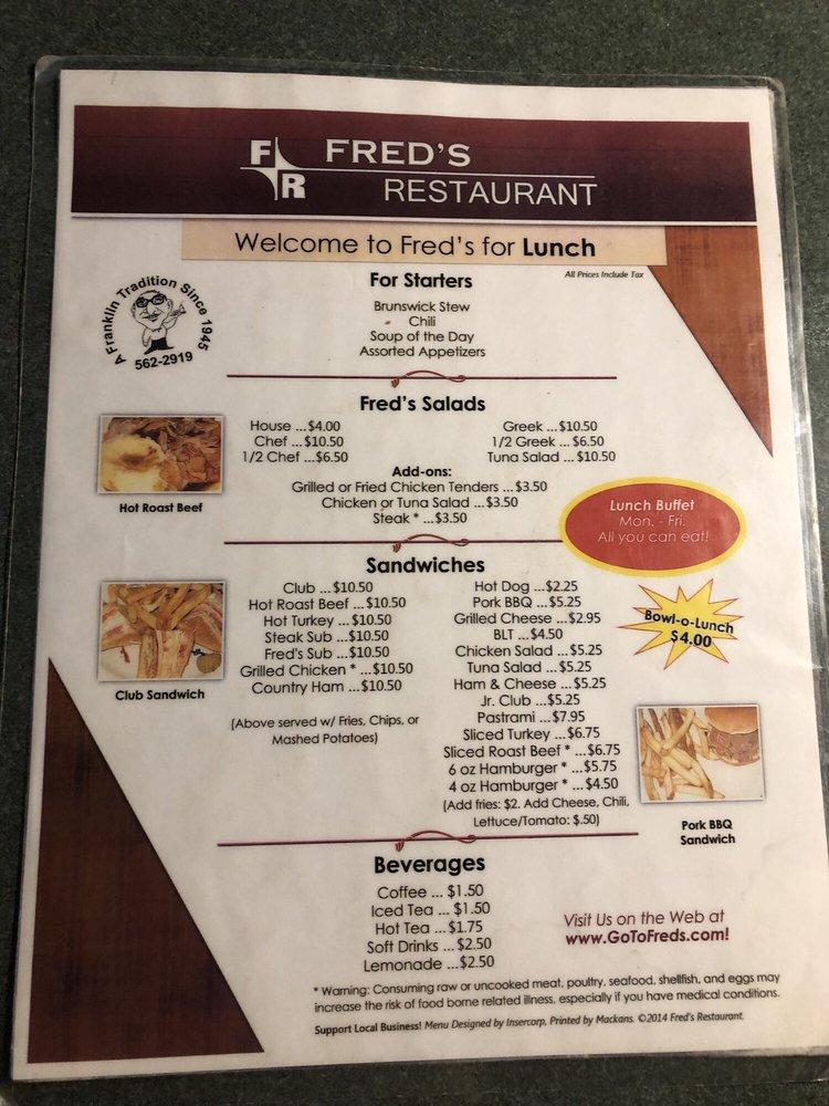 Fred's Restaurant: 107 S Main St, Franklin, VA