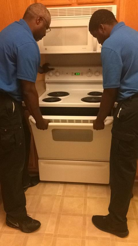 Using Two Technicians To Safely Move Stove For Repair Yelp