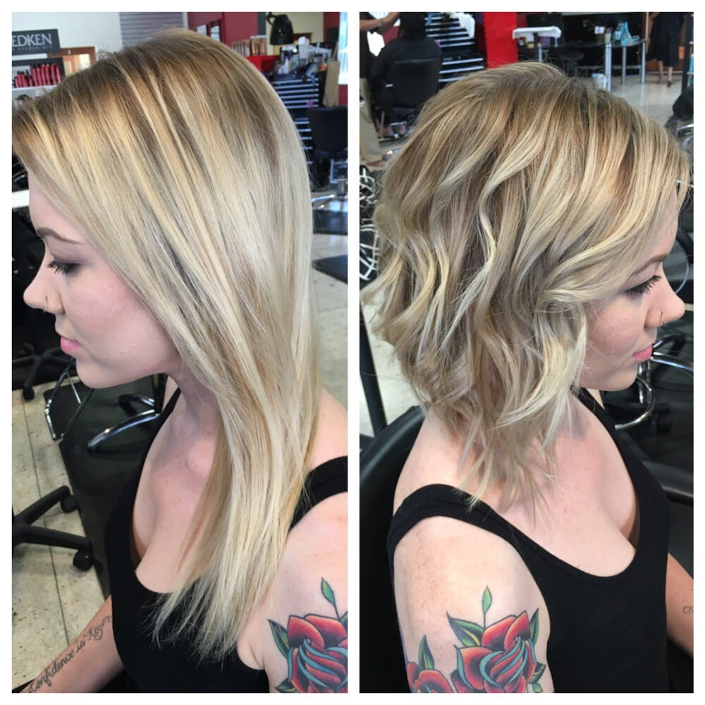 lob haircut before and after before and after lob haircut with highlights glaze yelp