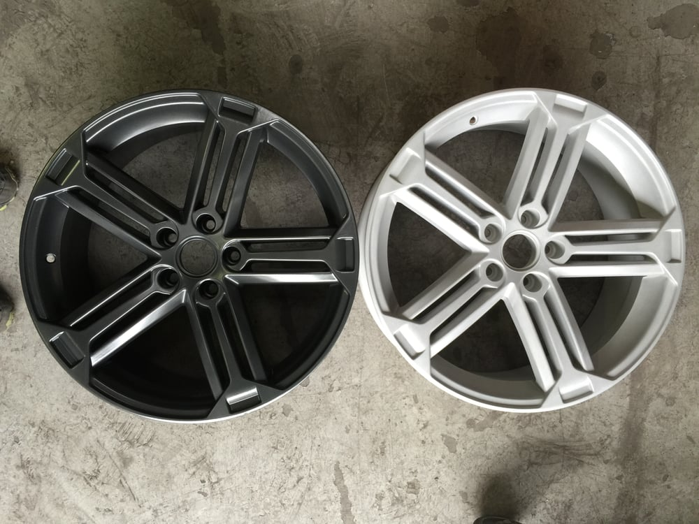 """Rim Repair Cost >> VW Golf R Talladega 19"""" replica wheels before and after. powder coated dark charcoal with low ..."""