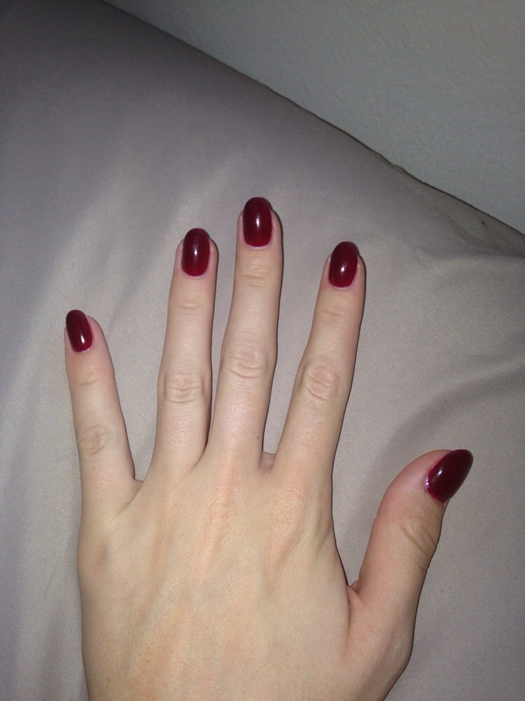 Gel builder with red wine color gel and almond shape! - Yelp