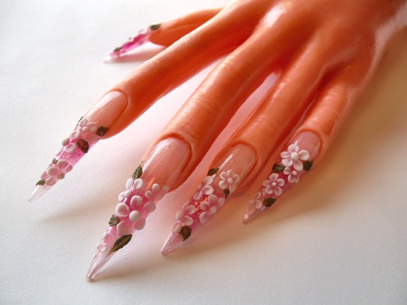 Fun With Acrylic Nail Art Stiletto Nails With 3d Acrylic Flowers Yelp