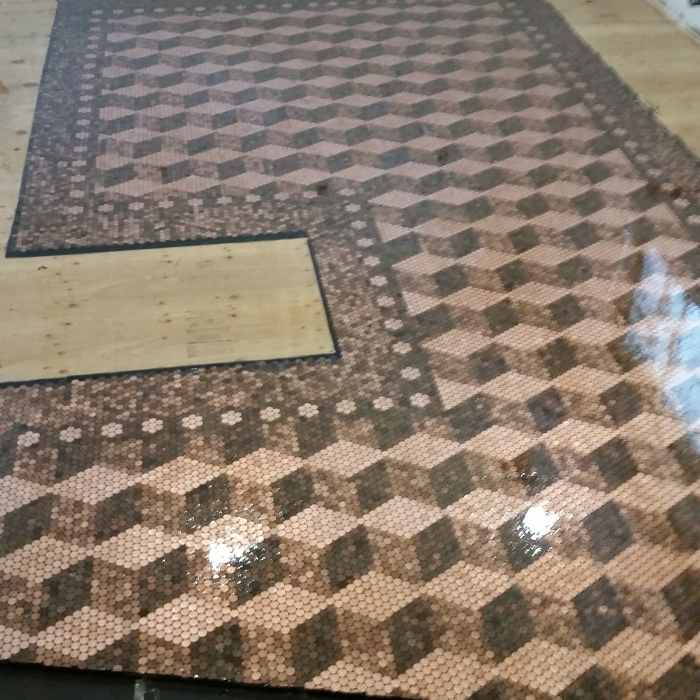 My New Kitchen Floor 22000 Pennies The Epoxy It Came Out