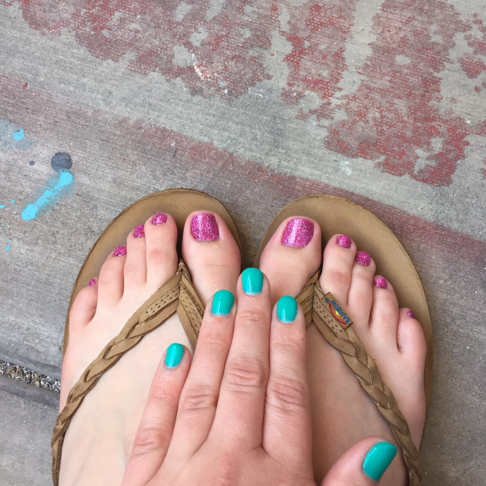 Gel mani and gel pedi with some man bait rockstar for Polished nail salon