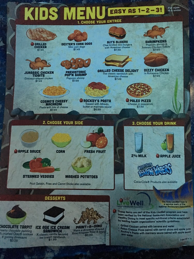 Kansas City T Rex Cafe Menu