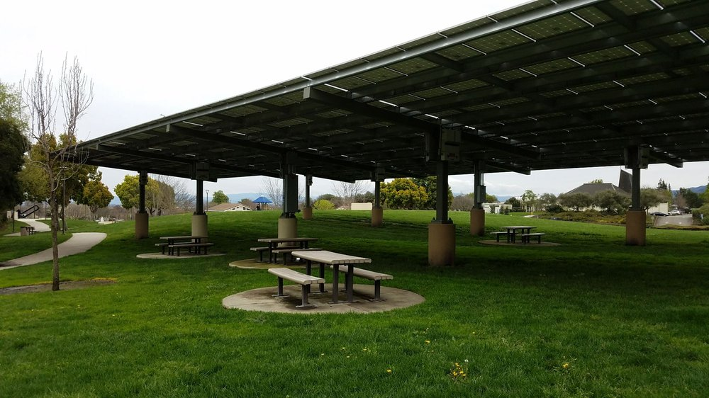 Well This Looks New Solar Panels Provide Shade For The Picnic - Solar picnic table