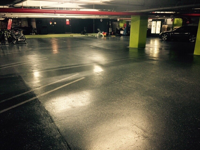 Private underground parking garage only for clients at granite gym