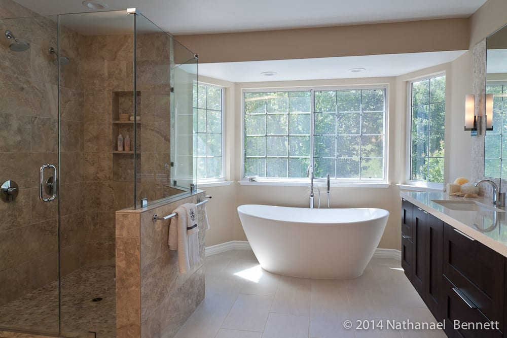 Alamo master bath with freestanding tub and spacious stone shower ...