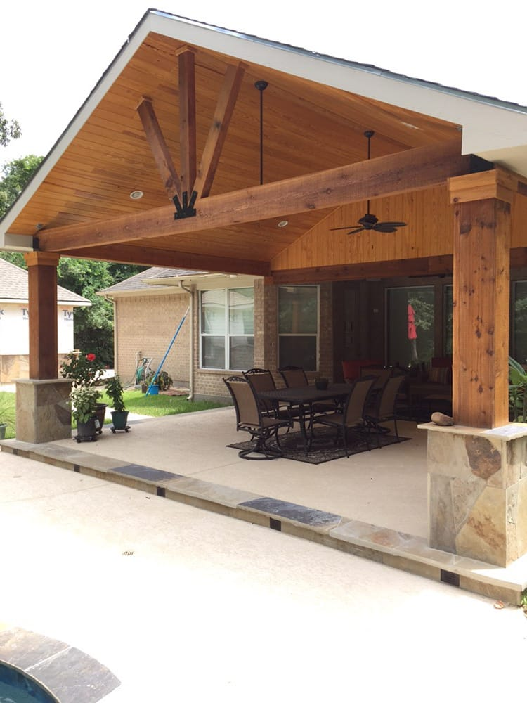 gable roof patio cover attached to existing house with cedar beams and posts flags or column. Black Bedroom Furniture Sets. Home Design Ideas