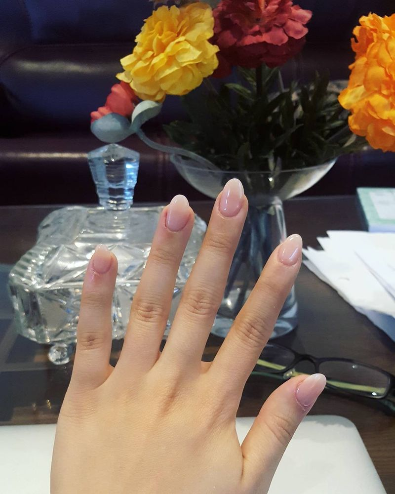 Changed from a squared shape French tip to a simple natural pink ...