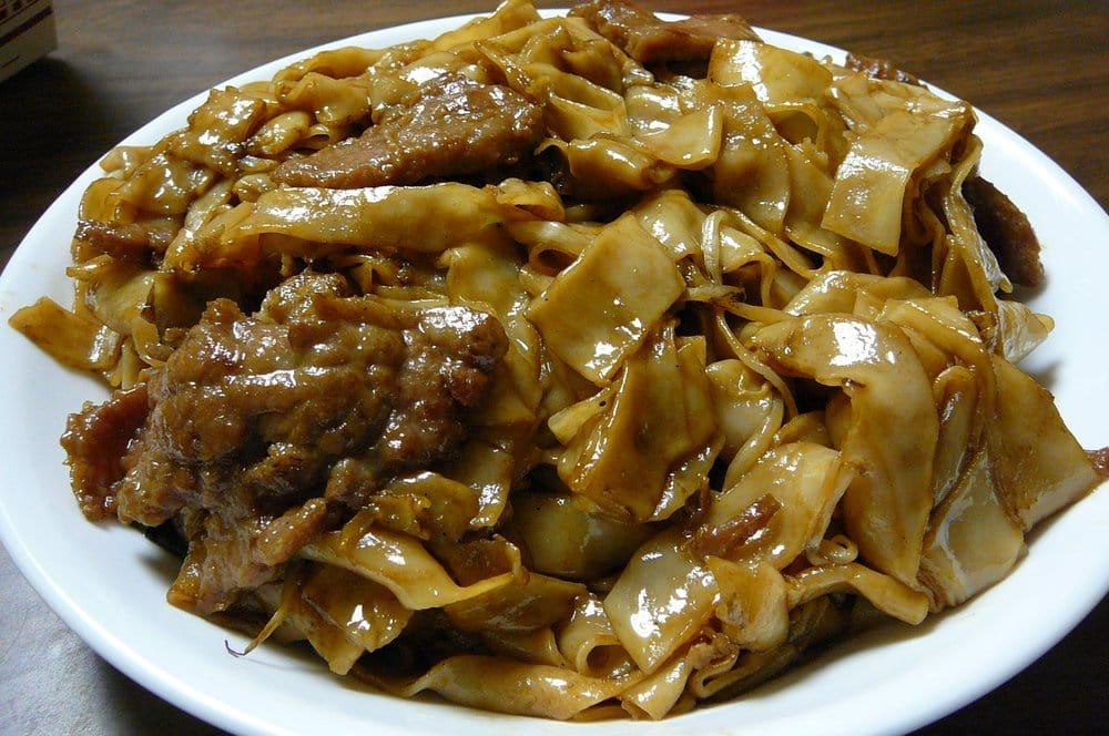 beef chow fun dry take out order loaded with noodles