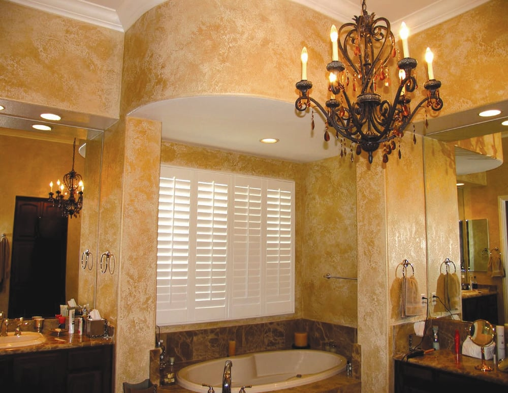 Spanish texture walls paint faux in metallic gold yelp for Faux painting ideas for bathroom
