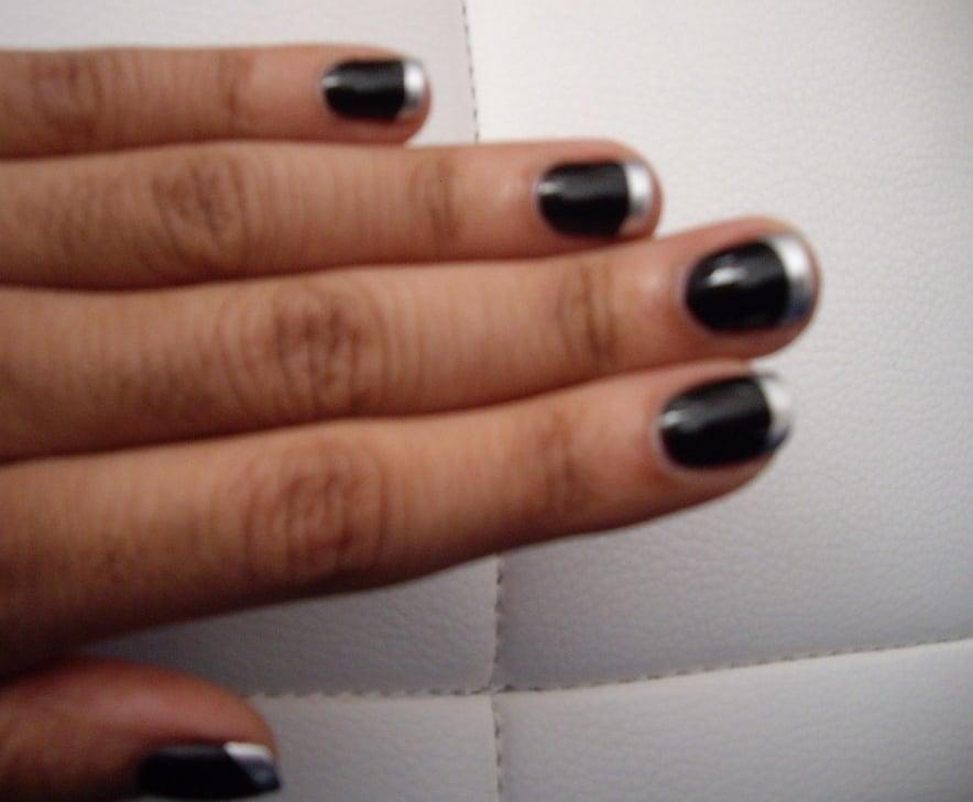black nail polish (Julep\'s Cleopatra) with metal tips (Essie\'s No ...