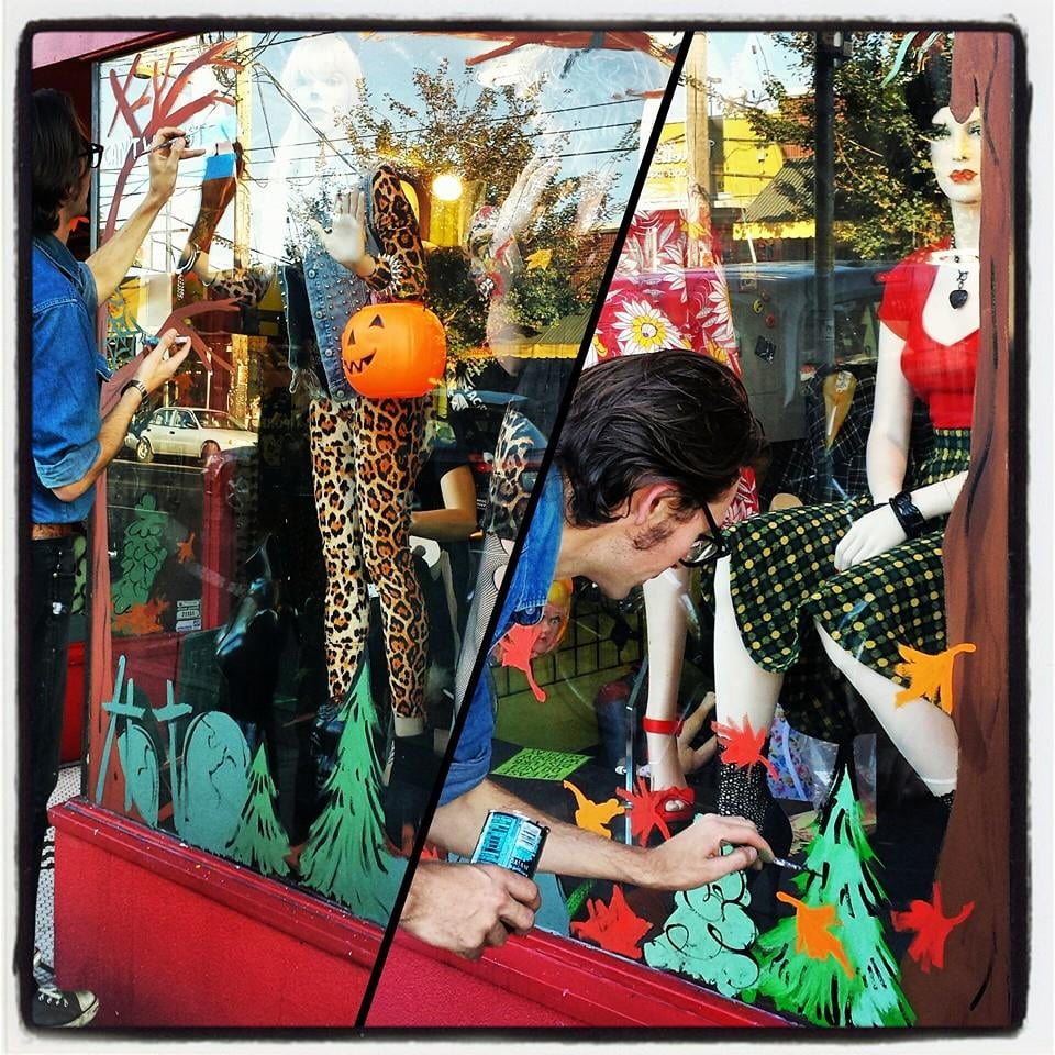 our very own matt stanger painting halloween/fall windows 2014. - yelp