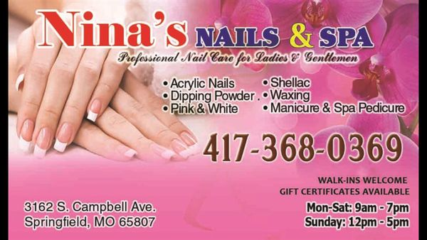 Nina\'s Nail & Spa 3162 S Campbell Ave Springfield, MO Manicurists ...