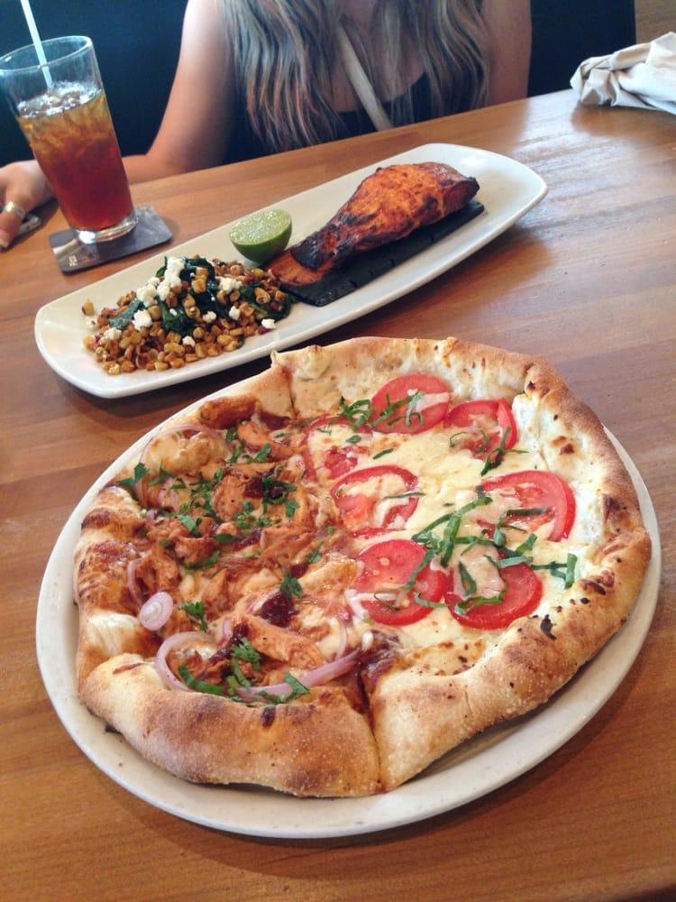 Cedar Plank Salmon with Corn Succotash. Pizza = The Original BBQ ...