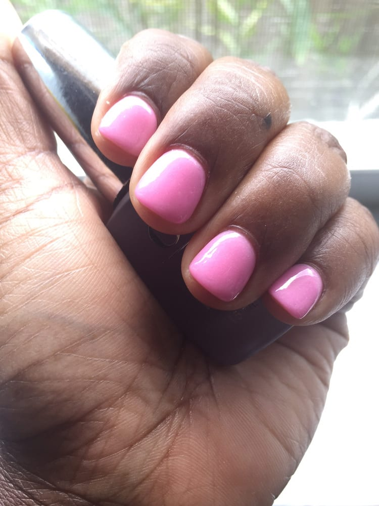 SNS on my short nails. I almost added tips but Val said I didn\'t ...