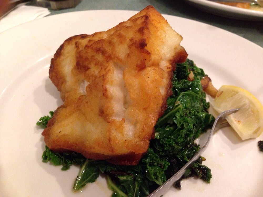 Pan seared Chilean Sea Bass with sautéed kale - Yelp