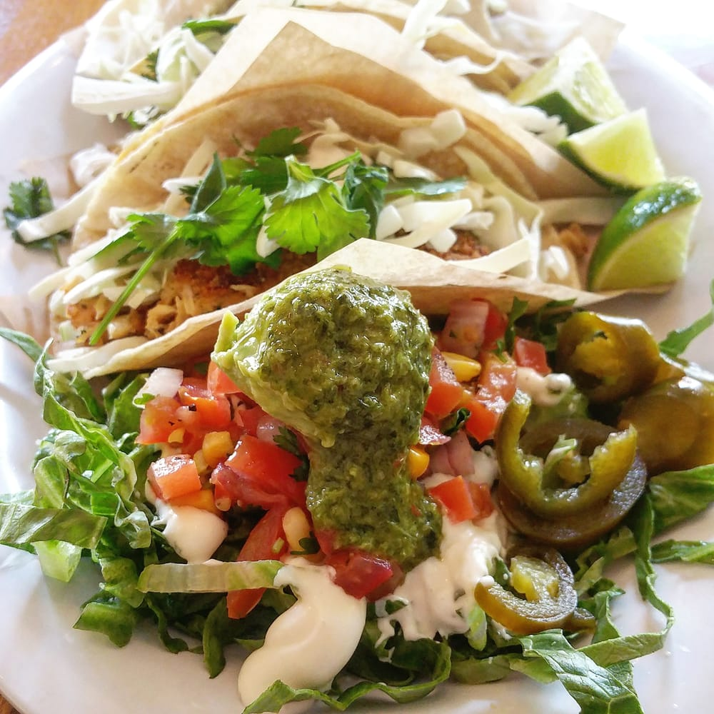 Tres chickin 39 tacos soy wheat and pea based protein ok for Vegan fish tacos
