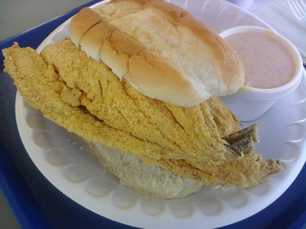 Fish sandwich with side of indi 39 s rice yelp for Fish fast food near me