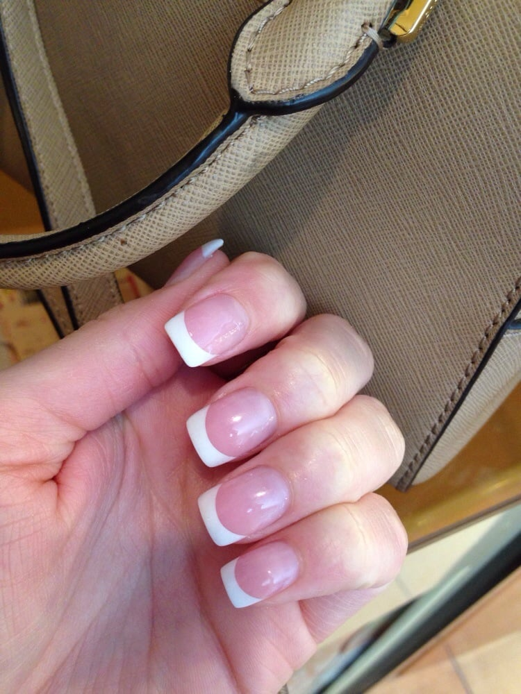 Thanks, Mai!! Pink and white acrylics. Shoe, but look long! Perfect ...
