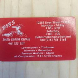 Bobs small engine repair appliances repair 10289 dyer st el photo of bobs small engine repair el paso tx united states our our business card reheart Image collections