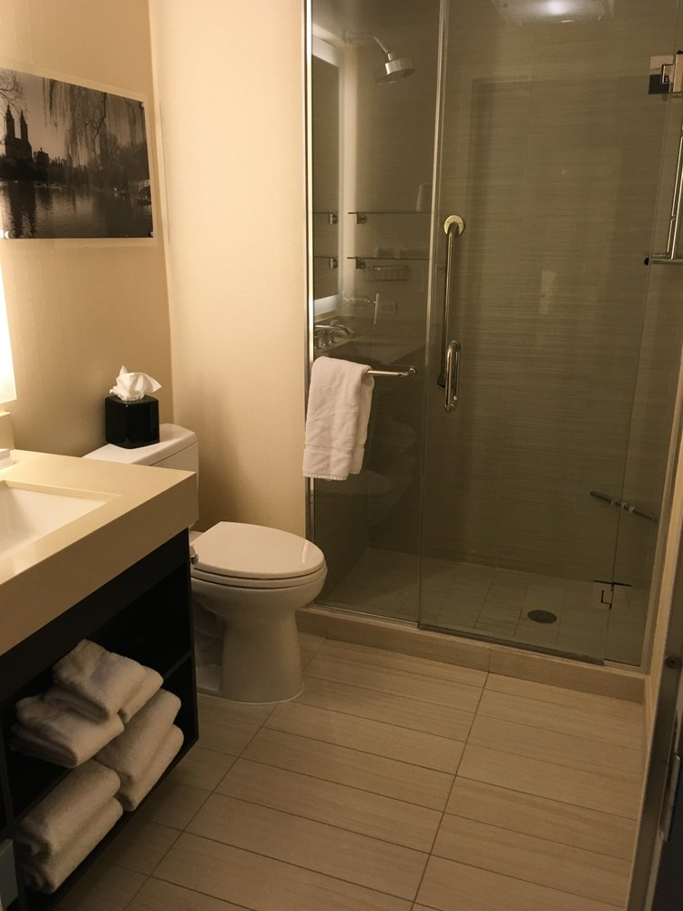 Standard bathroom, shower stall, no tub - Yelp