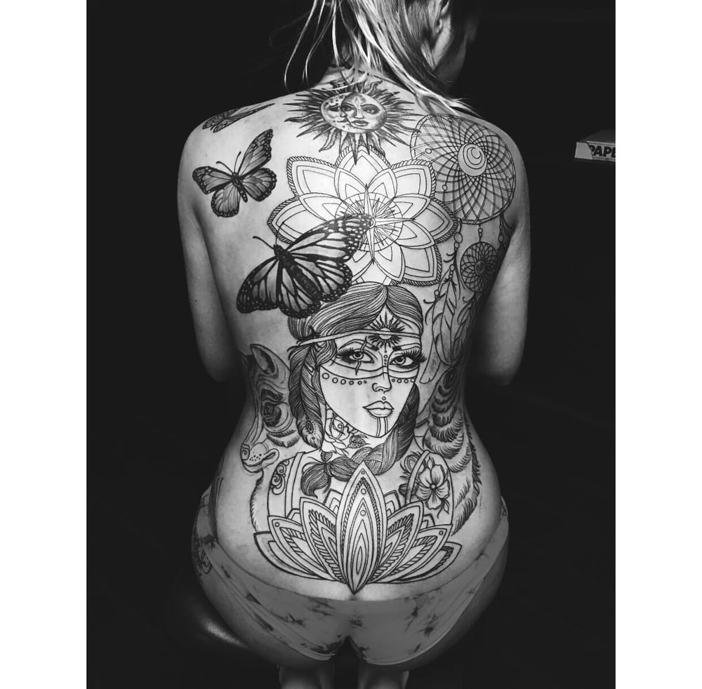 first session of my back piece with joseph at reverent tattoo yelp