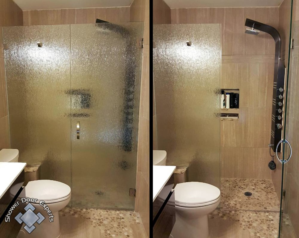Textured glass finishes give custom shower units a sense of privacy ...