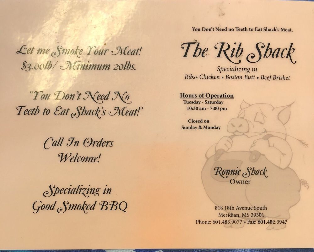 Rib Shack: 818 18th Ave S, Meridian, MS