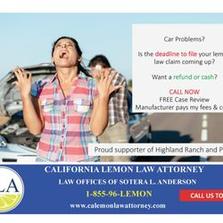 Lemon Law California >> Lemon Law Attorney Law Offices Of Sotera L Anderson Request