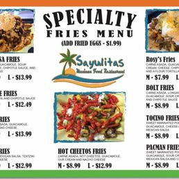 Sayulitas Mexican Food Escondido Menu