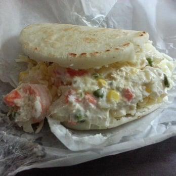 Nico's Shrimp Special arepa. Big plump shrimp, homemade chicken salad ...